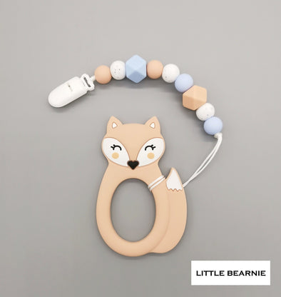 Baby Teether Clip Set (Premium Range) - Kawaii Foxy (Beige)