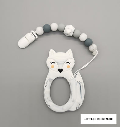 Baby Teether Clip Set (Premium Range) - Kawaii Foxy (Marble)