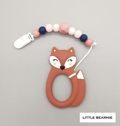 Baby Teether Clip Set (Premium Range) - Kawaii Foxy (Maroon Red)