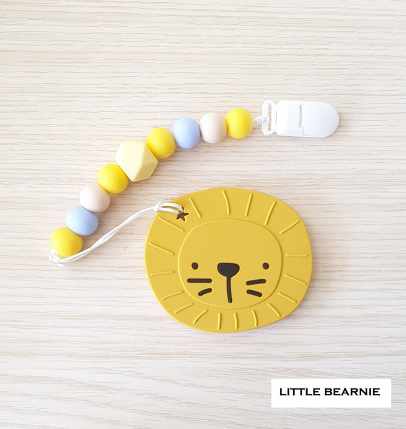 Modern Baby Teether Clip Set - Lion (Yellow)