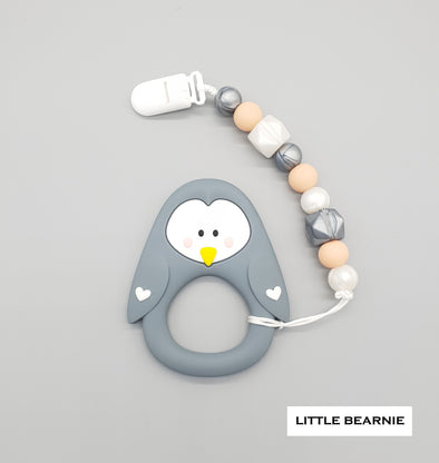 Baby Teether Clip Set (Premium Range) - Lovely Penguin (Grey)