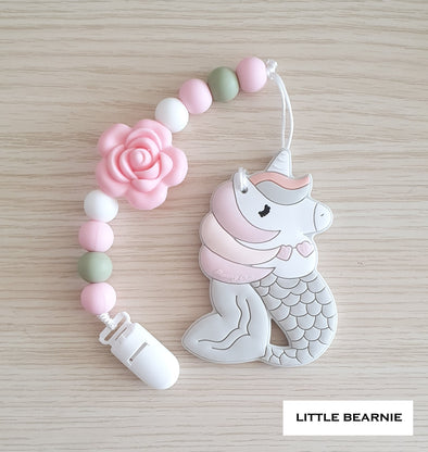 Baby Teether Clip Set (Premium Range) - Mermicorn (Light Peach)