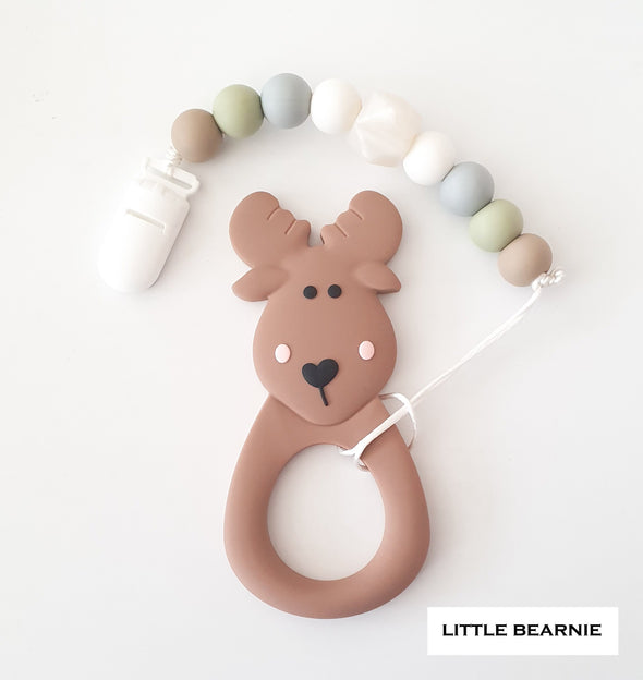 Baby Teether Clip Set (Premium Range) - Moose Deer (Brown)