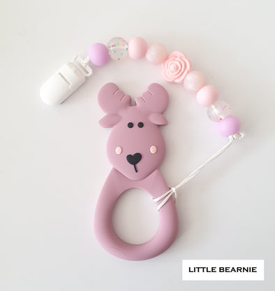 Baby Teether Clip Set (Premium Range) - Moose Deer (Plum)