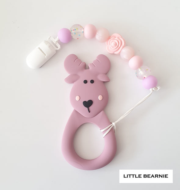 Modern Baby Teether Clip Set - Moose Deer (Plum)