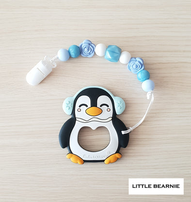 Baby Teether Clip Set (Premium Range) - Muffy Penguin (Black)