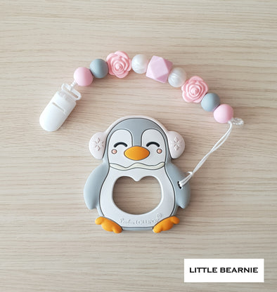 Baby Teether Clip Set (Premium Range) - Muffy Penguin (Light Grey)