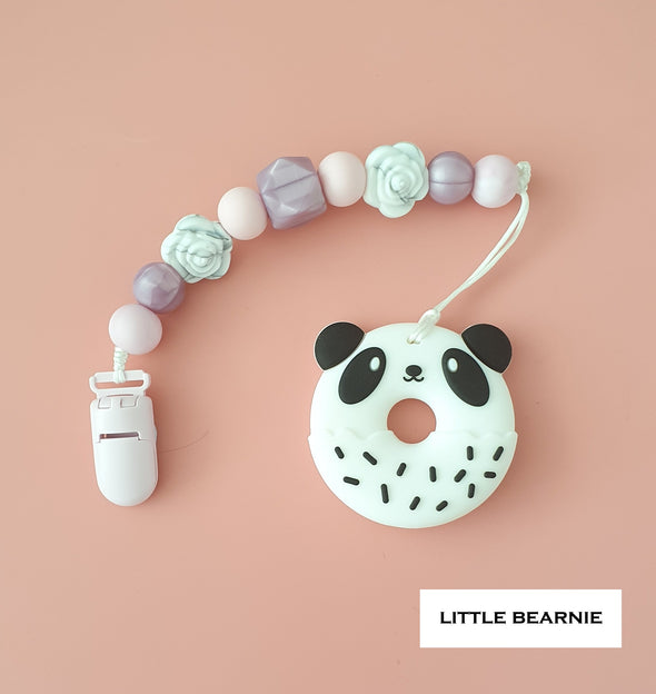 Baby Teether Clip Set (Premium Range) - Panda Donut (Floral Theme)