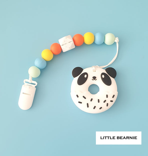 Baby Teether Clip Set (Premium Range) - Panda Donut (Rainbow Theme)