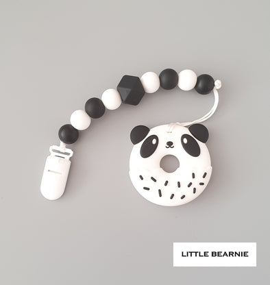 Baby Teether Clip Set (Premium Range) - Panda Donut (Monochrome Theme)