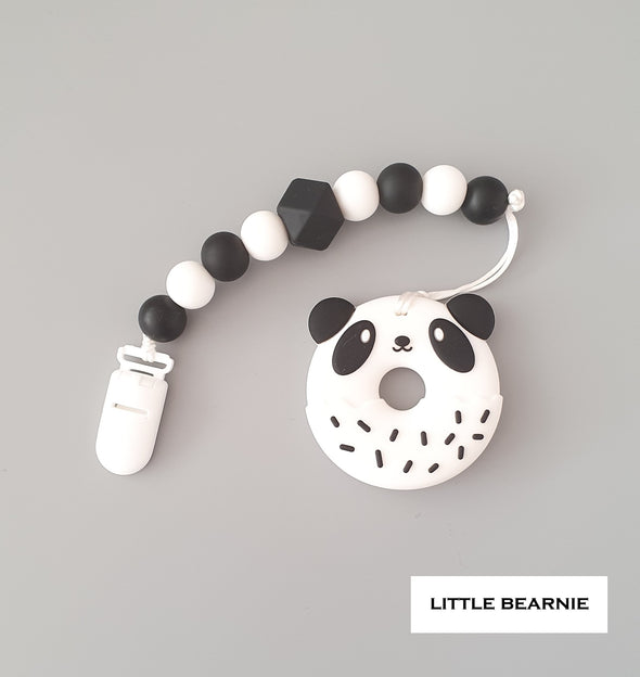 Modern Baby Teether Clip Set - Panda Donut (Monochrome Theme)