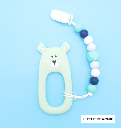 Modern Baby Teether Clip Set - Shy Bear (Mint)