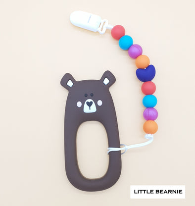 Baby Teether Clip Set (Premium Range) - Shy Bear (Brown)