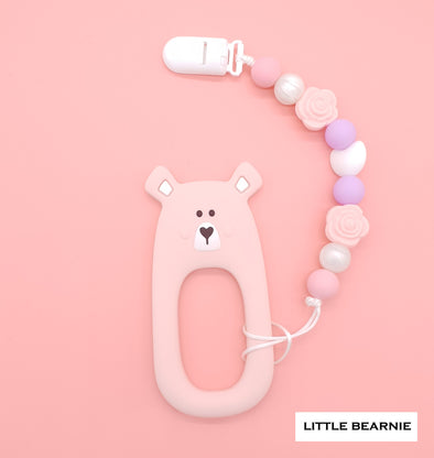 Modern Baby Teether Clip Set - Shy Bear (Pink)