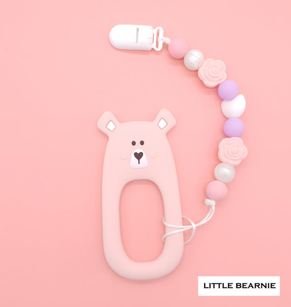 Baby Teether Clip Set (Premium Range) - Shy Bear (Pink)