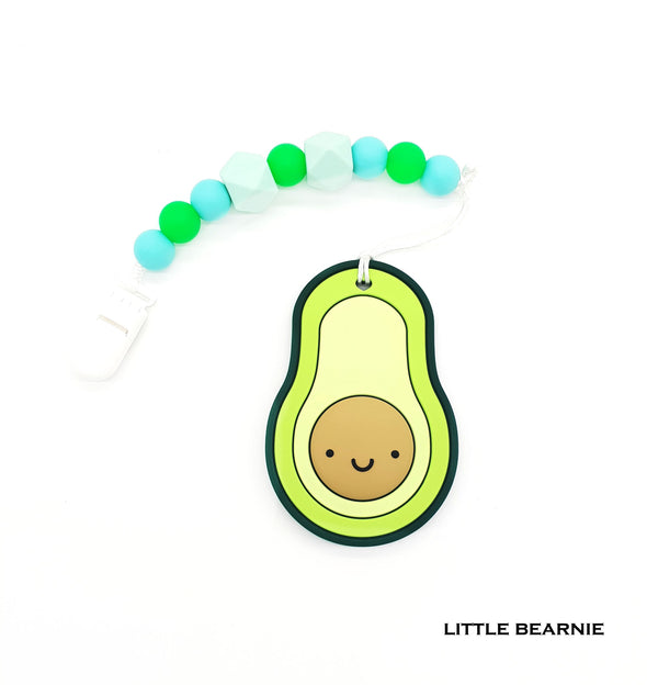 Modern Baby Teether Clip Set - Smiley Avocado