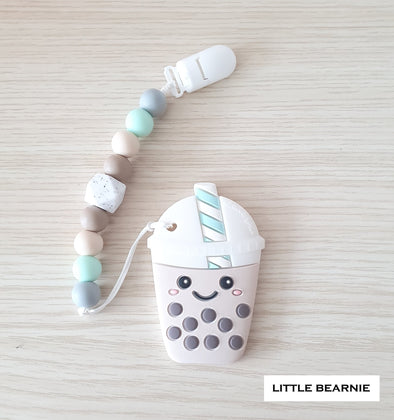 Modern Baby Teether Clip Set - Smiley Boba Tea