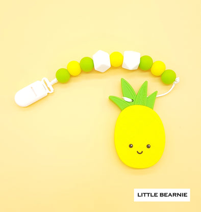 Baby Teether Clip Set (Premium Range) - Smiley Pineapple