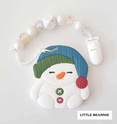 Modern Baby Teether Clip Set - Snowy Snowman