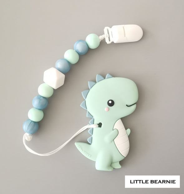 Modern Baby Teether Clip Set - T-Rex Dino