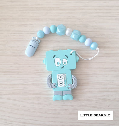 Baby Teether Clip Set (Premium Range) - Tipsy Robot (Blue)