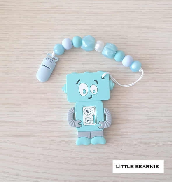 Modern Baby Teether Clip Set - Tipsy Robot (Blue)