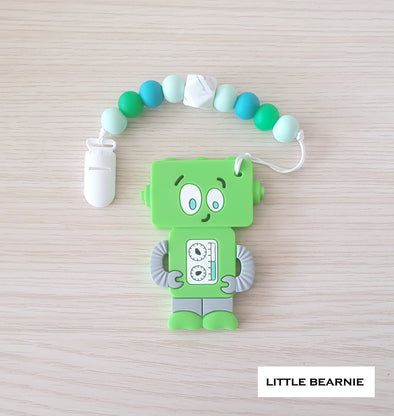 Baby Teether Clip Set (Premium Range) - Tipsy Robot (Green)