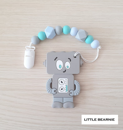 Baby Teether Clip Set (Premium Range) - Tipsy Robot (Grey)