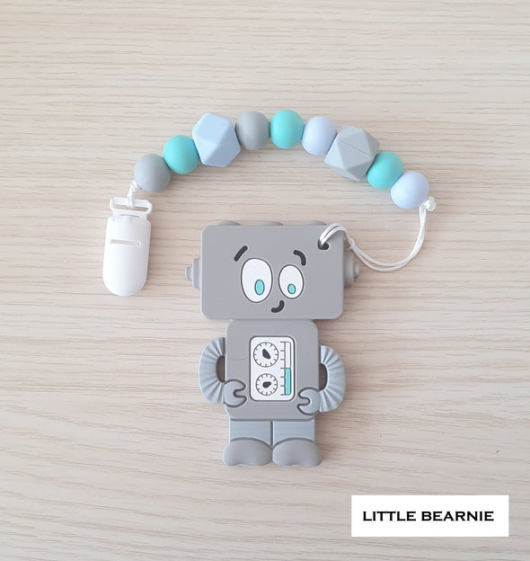 Modern Baby Teether Clip Set - Tipsy Robot (Grey)