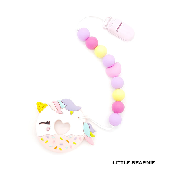Baby Teether Clip Set (Premium Range) - Unicorn Donut (Pink)