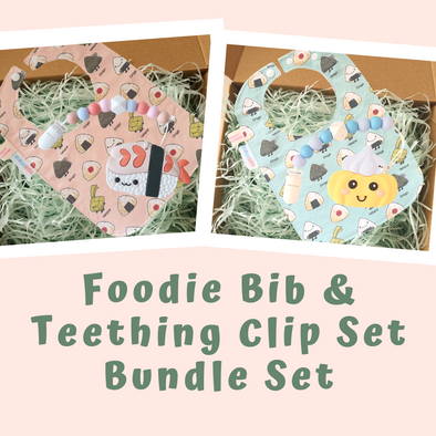 Baby Classic Gift Set - Foodie Bib & Teething Clip Set