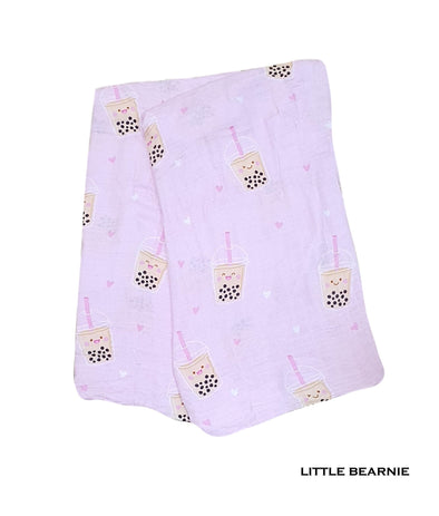Swaddle / Baby Blanket - Boba Love (Pink)