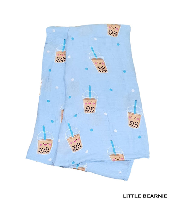 Swaddle / Baby Blanket - Boba Love (Blue)