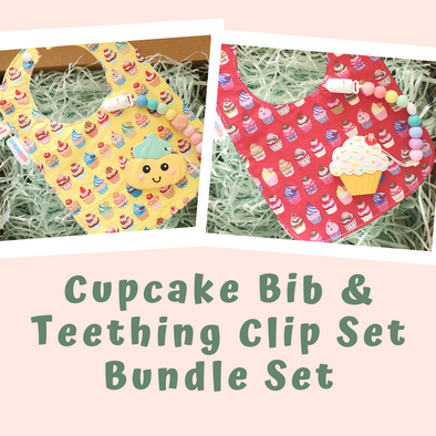 Baby Gift Set - Cupcake Bib & Teething Clip Set Bundle