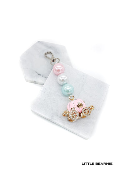 Straight Beaded Bag Charm - Carriage