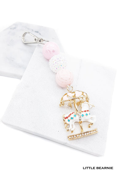 Straight Beaded Bag Charm - Carousel Love