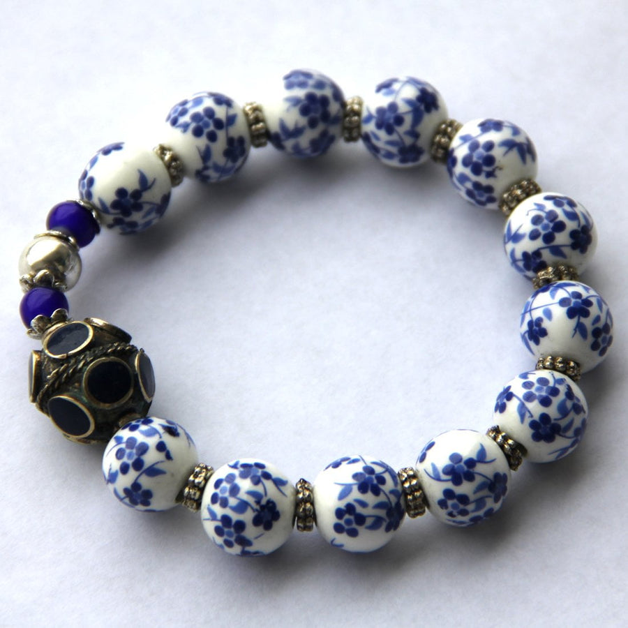 SILK ROAD Artisan Slip-on Style Porcelain Beads Bracelet