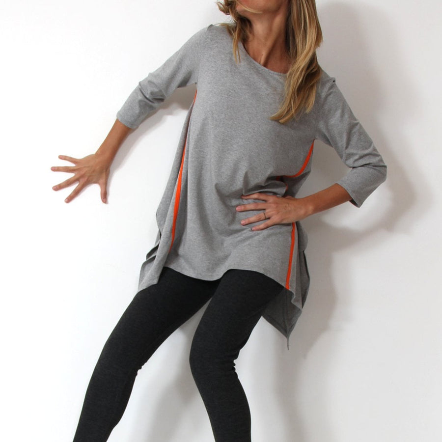 Murliyn A-Shaped 3/4 Sleeve Asymmetric Tunic Top