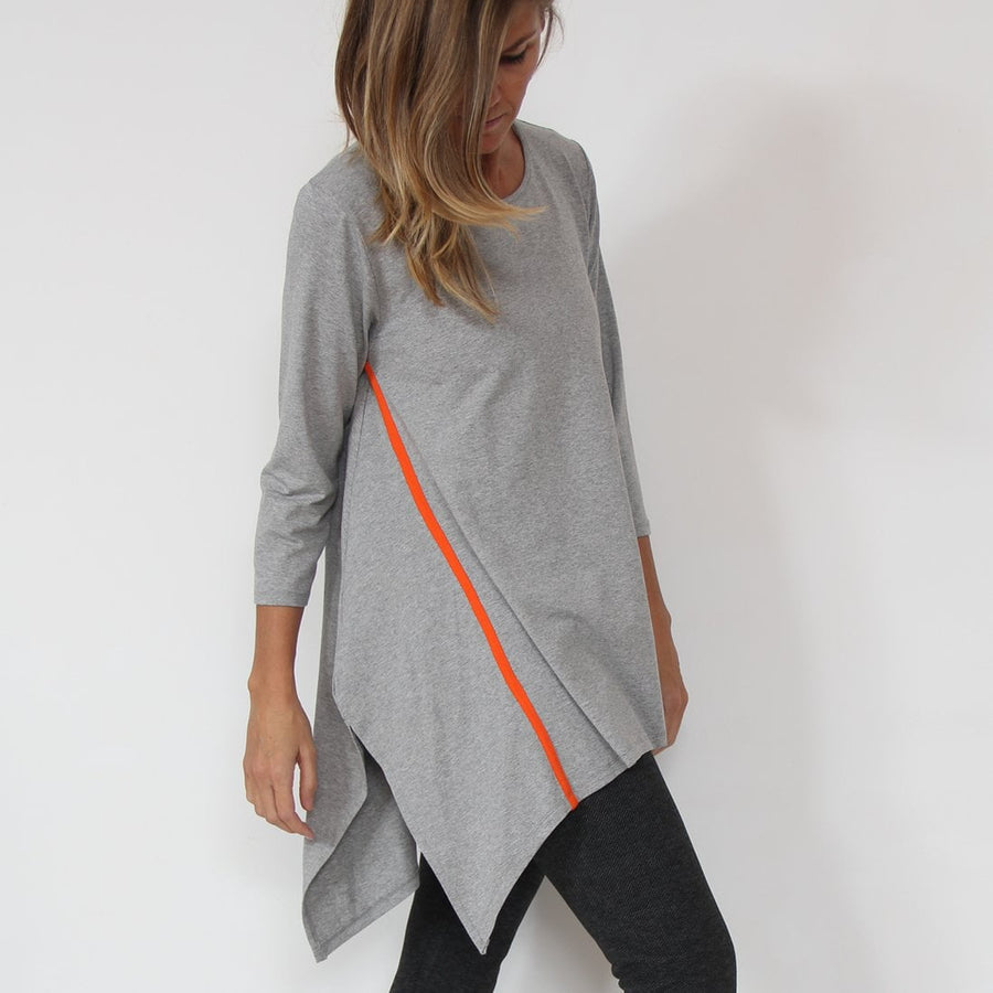 Murliyn women's 3/4 long sleeve Tunic shirt. Viscose Fabric - Light Grey