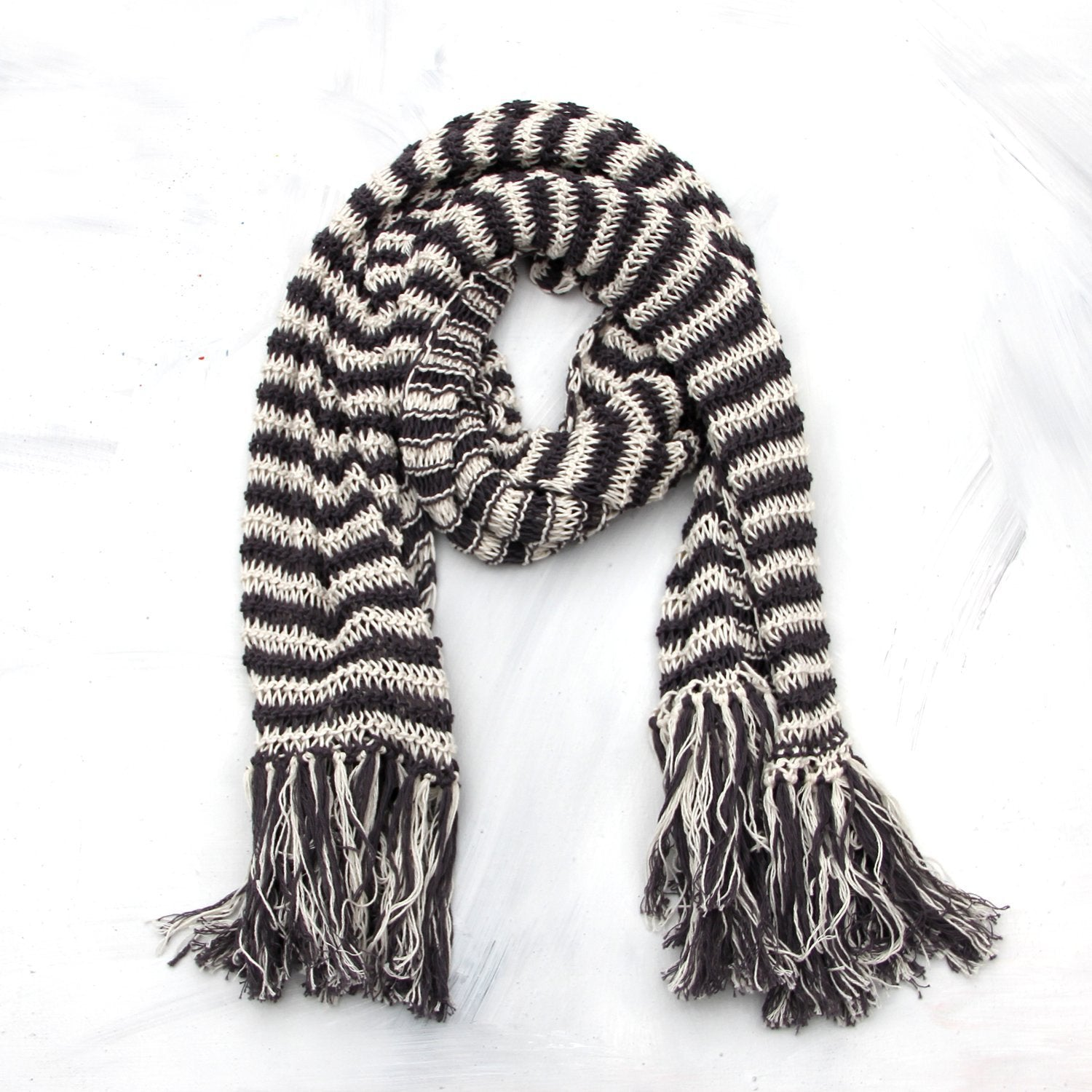 b5e74aca68911 Prancing Leopard Organic cotton artisan knitted striped scarf - dark grey  and natural white stripes