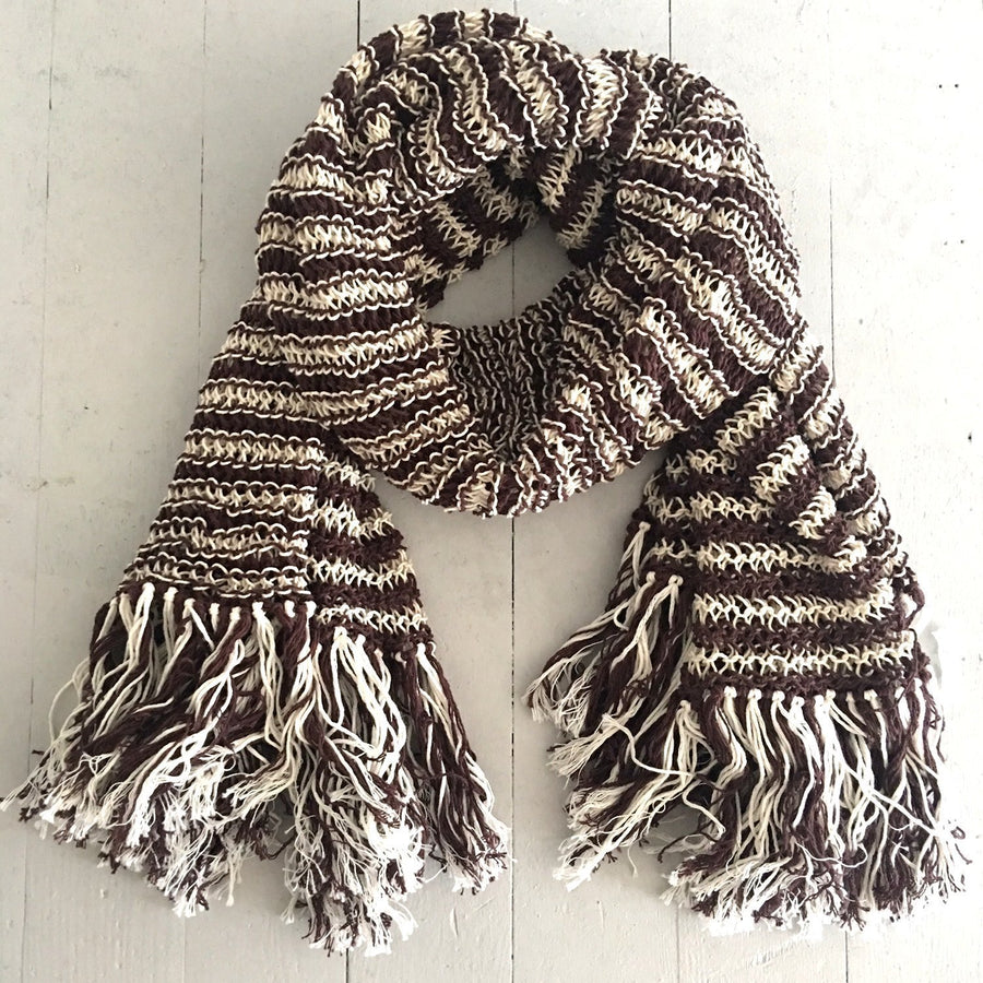 Prancing Leopard Organic cotton artisan knitted striped scarf - dark grey and natural white stripes