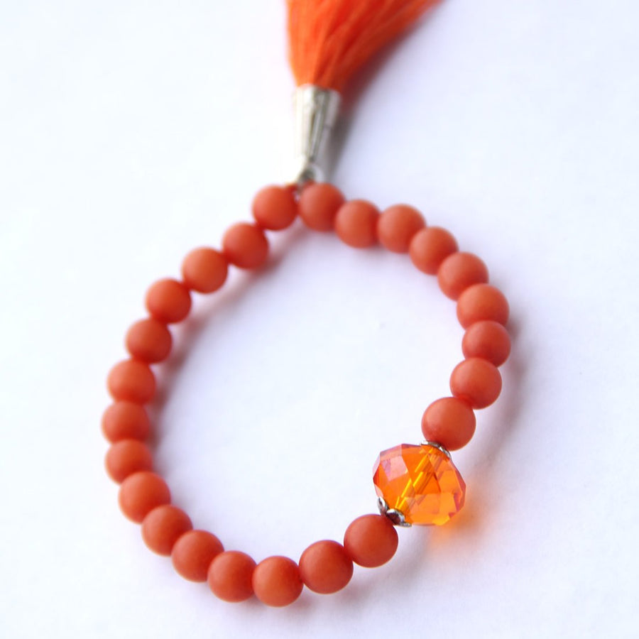 ORANGE SUNSET Beaded Slip-on Artisan Bracelet