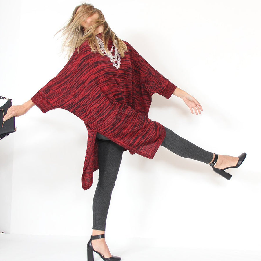 Murliyn Knitted Asymmetric Pullover - Boat-Neck Oversize 3/4 Dolman Sleeves Knit Sweater /Cardigan