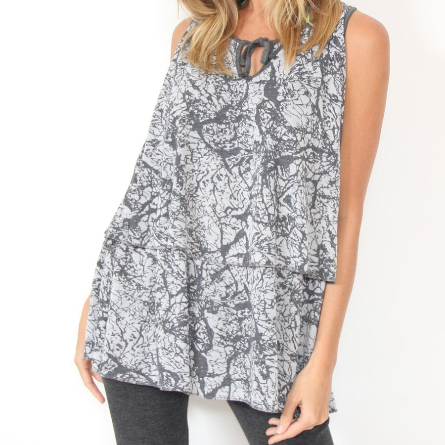 Murliyn Layered Sleeveless shirt / Tunic Tank-Top - Blouse with Marble Print