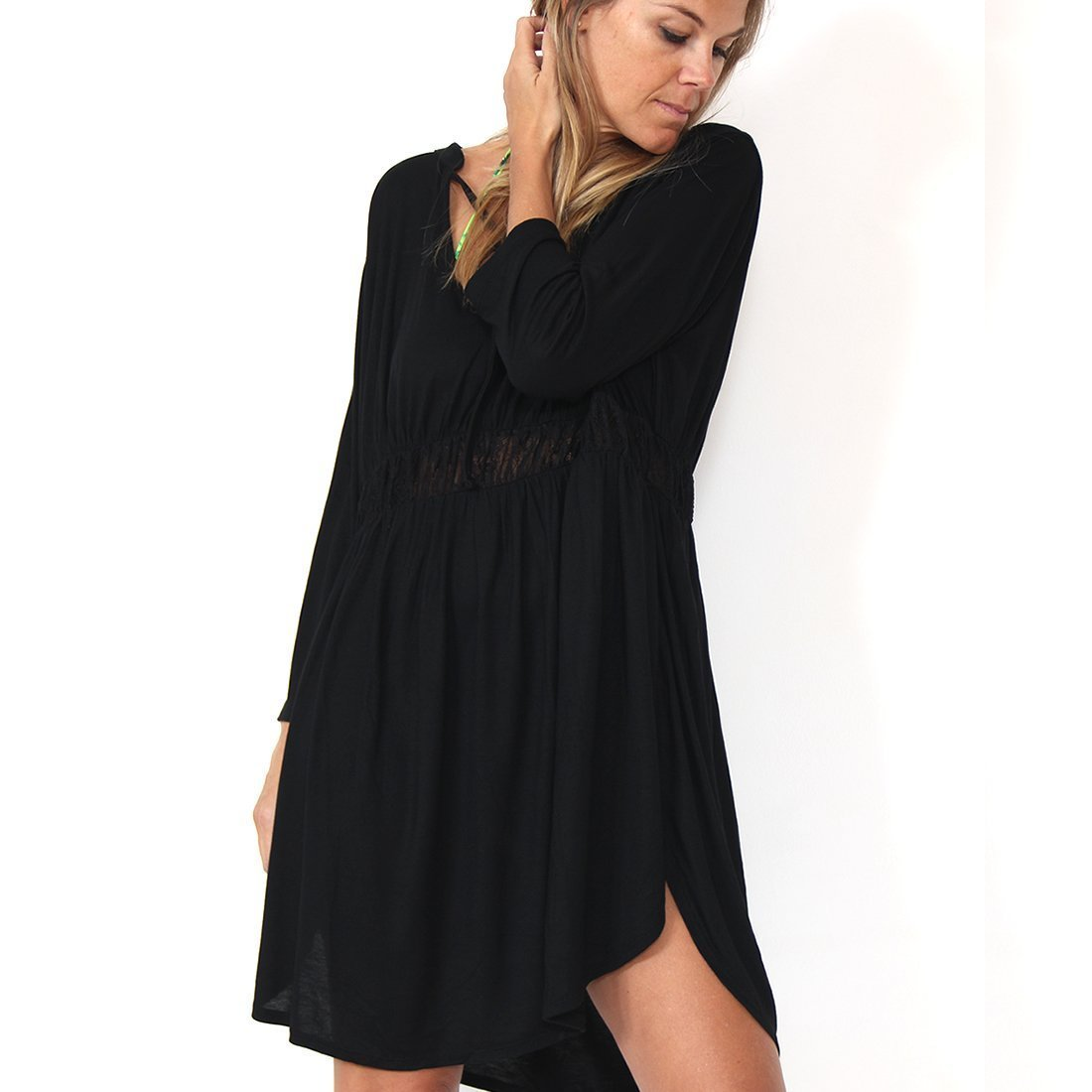 Murliyn Womens Little Black T Shirt Dress Tunic Top Tie Neck