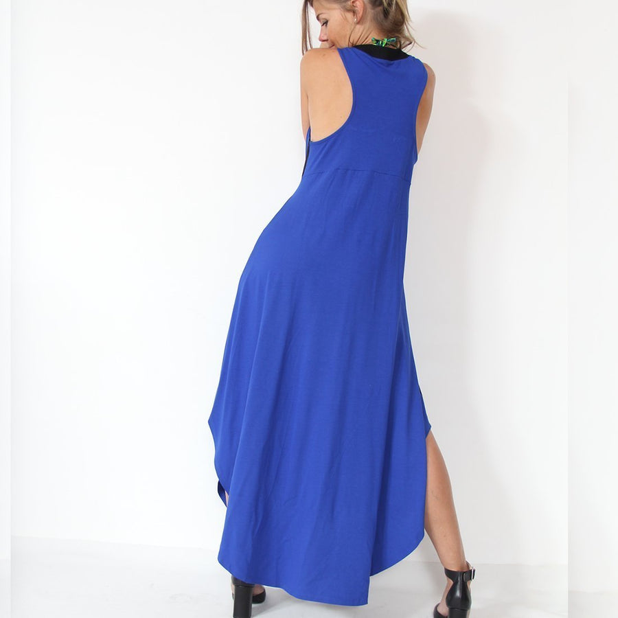 Murliyn Blue Casual sleeveless maxi cocktail dress - With black side stripes