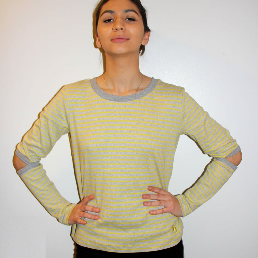 COLMAR, the elbow-slit, long-sleeve rib shirt in organic cotton