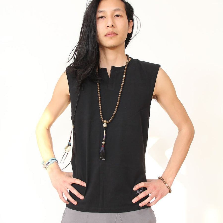 Prancing Leopard Marseille Unisex Sleeveless Yoga Shirt in Organic Cotton - Black
