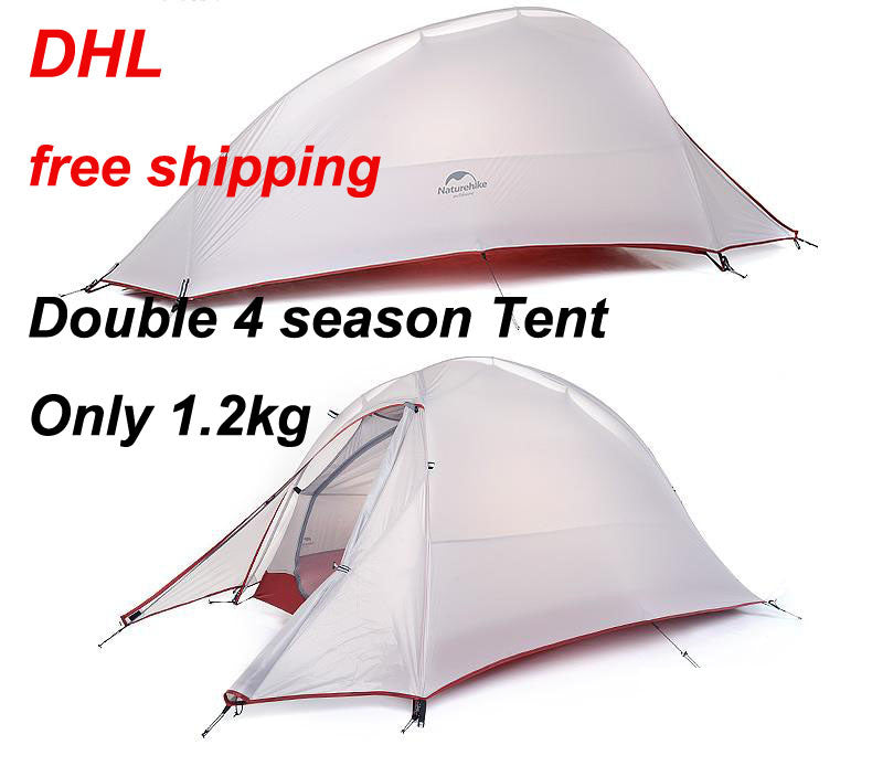 2016 DHL free shipping NatureHike 2 Person Tent ultralight 210T Plaid Fabric Tents Double-layer Camping Tent Outdoor Tent