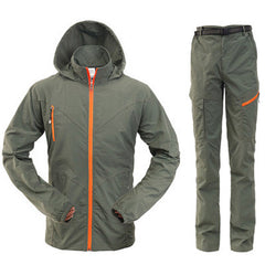 Outdoor Quick Dry Breathable Clothing Set Men Women Spring Summer 2 Pieces Set Sports Jackets Pants Hiking Camping Clothes RM050